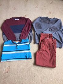 BOYS BUNDLE - ONE JUMPER, ONE SWEATSHIRT, CHINOS AND T-SHIRT - AGE APPROX. 10/11 YRS