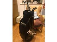 Golf clubs titleist irons, woods, putter, bag