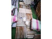 STILL AVAIL Free garden bits - wooden slabs, water butt and plant pots/troughs
