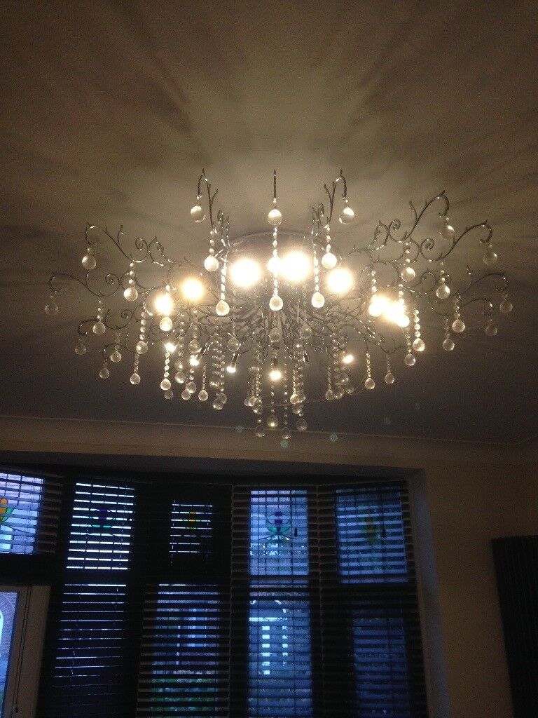 2 Chandelier lights, Chrome pendant with crystal effect droplets.