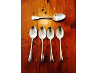 FIVE ELECTROPLATE SILVER DESSERT SPOONS