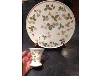 "Wedgwood, Bone China, 11"" Platter and Flower Vase. Made in England"