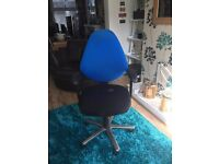 Black/ Blue Swivel Office Chair with armrest