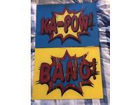 KA POW AND BANG SUPERHERO HERO SIGNS