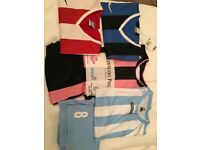 Mix of football shirts long-sleeve and shorts (Large and Extra Large)