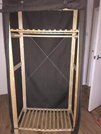Poly cotton and wood wardrobe
