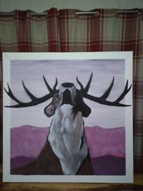 XL hand painted canvas art