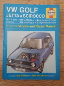 VW Volkswagen Golf & Scirocco MK1 Haynes Service and Repair Manual
