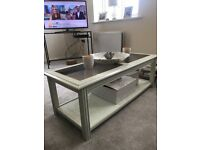 White wood coffee table with glass top