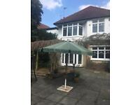Garden sun shade umbrella and base