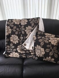 Black and gold curtains. 90 drop with two matching cushions