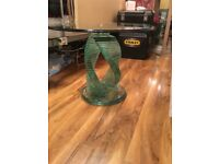 Cobra glass side table very heavy good condition