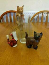 Wooden cat ornaments set of three
