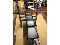 Folding weight bench. Excellent condition. Adjustable seat for incline sets. Folds up to save space