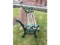 Garden bench with decorative solid iron ends