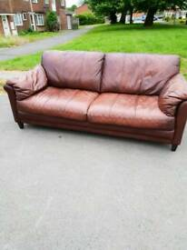 2 x large real leather sofas