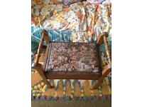 Vintage Embroided Wooden Piano Stool