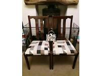 PAIR OF NEWLY UPHOLSTERED SOLID DINING CHAIRS