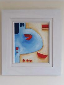 Contemporary, colourful image of boats in harbour. Bought in Padstow gllery some years ago. Framed.