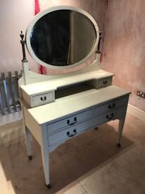 White painted antique wooden dressing table- mirror and table with wheels. Can be separated.