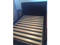 King size Brown leather sleigh bed frame