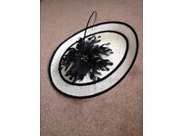 Hat/Fascinator for sale, Coast Adira, Ivory and black with Ivory headband