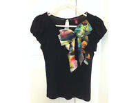 Black fitted Ted Baker top, size 1 (UK size 8)