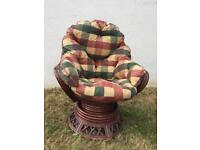 BAMBOO SWIVEL TUB EGG CHAIR - WITH ORIGINAL CUSHIONS - STILL AVAILABLE - collection WOOKEY Somerset