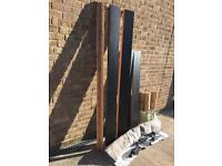 Black Ikea bed double bed with slats, under mattress cover and mattress