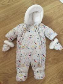 All in one baby pram suit