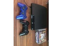 Slim PS3 with 4 games and 2 controllers, all wires included, can deliver £80