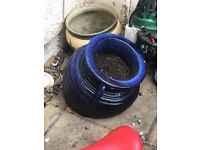 Plant pot half in blue