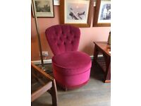 Chair, small & comfortable vgc in velvet fabric