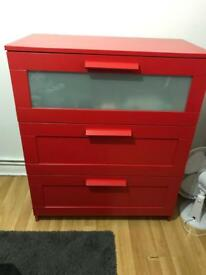 IKEA BRIMNES Chest of 3 Drawers - RED