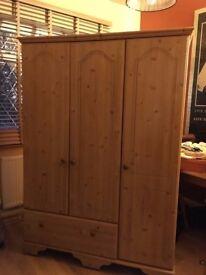 Solid Pine Three Door Wardrobe