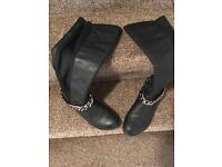 Knee length black boots size 6