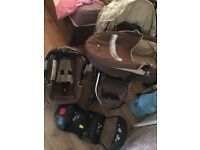 Hauck apollo travel system, pram, car seat, cot, isofix base, good condition