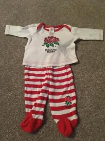 0-3 month baby England rugby outfit
