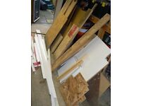 FREE TO COLLECT.LOTS OF VARIOUS WOOD,PLASTIC EDGING STRIPS,UPVC