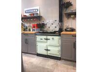 NEW Aga Rayburn 400L gas range cooker in Aqua blue, ex display, unused