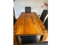 Dark Wood Oak Dining Table and 6 Leather Chairs