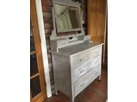 Shabby chic Edwardian chest of drawers / dressing table