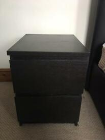 Two Black Bedside Tables