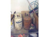 2 Butane Free Gas Cylinders 13kgs each - empty