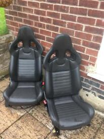 FRONT TWO FULL LEATHER RECARO BUCKET SEATS MADE TO FIT IN MK5 VW GOlF