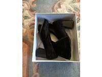 New - Lady's high heel black velvet ankle boots, UK size 4