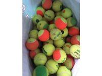 A range of tennis balls for children