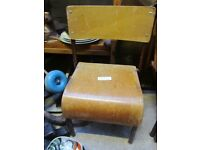 set 4 vintage children's school chairs oak veneer tubular legs