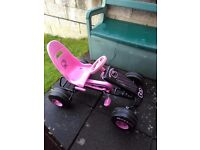 Hello kitty go kart, pink and black. would suit 3+ years. Barely used but few marks as been in shed.