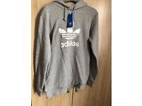 Grey genuine adidas trefoil hoodie